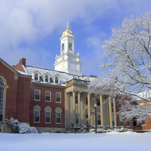 Photo of Wilbur Cross after a snow storm.